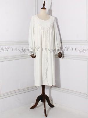 Cotton Vintgae Sweet Round Neckline Long Sleeves Nightgown by Angel fields