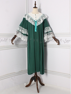 Vintage Round Neckline Long Sleeves Lace Ruffled Nightgown by Angel fields