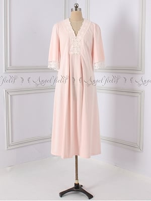 Cotton Vintage V-neck 3/4 Sleeves Nightgown by Angel fields
