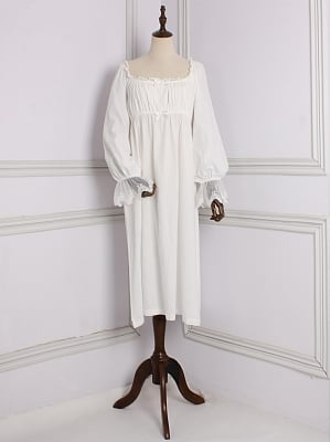 Cotton Vintage Square Neckline Long Sleeves Nightgown by Angel fields