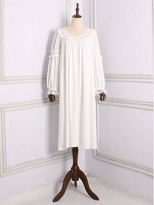 Vintage Lace Trim Round Neckline Long Sleeves Nightgown by Angel fields