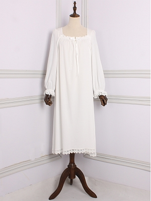 Vintage Lolita Square Neckline Long Sleeves Nightgown by Angel fields