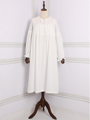 Cotton Vintage Ruffled Round Neckline Long Sleeves Nightgown by Angel fields