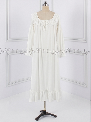 Vintage Lace Ruffled Round Neckline Long Sleeves Nightgown by Angel fields