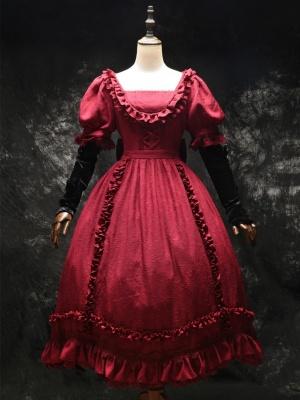 Claudia Square Neckline Removable Sleeves Elegant Gothic Lolita Dress OP