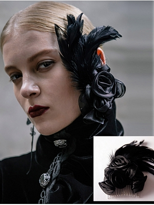 Gothic Black Roses and Feather Hair Comb by Devil Fashion