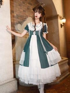 Morning Mist Forest Navy Collar Short Sleeves Elegant Lolita Dress OP by Aurora Kiss