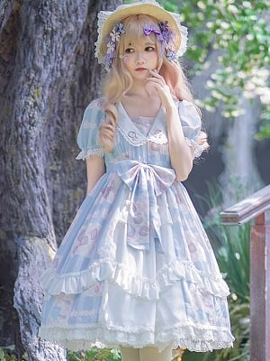 Summer Color Frost Wind Square Neckline Short Sleeves Sweet Lolita Dress OP by Aurora Kiss