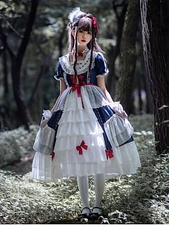 Snow White Navy Collar Short Sleeves Elegant Lolita Dress OP by Aurora Kiss