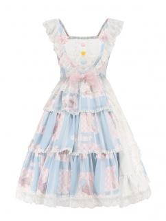 Summer Color Frost Wind Square Neckline Sweet Lolita Dress JSK by Aurora Kiss