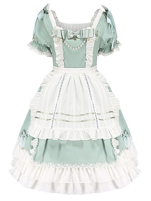 Spring Wood Branches Square Neckline Short Sleeves Sweet Lolita Dress OP / Apron Set by Aurora Kiss