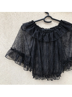 Black Ruffled Off-the-shoulder Neckline 3/4 Sleeves Lolita Lace Blouse