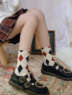 Beige White Diamond Lattice Lolita Stockings
