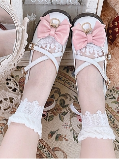 Baroque Lace Trimmed Lolita Crystal Socks