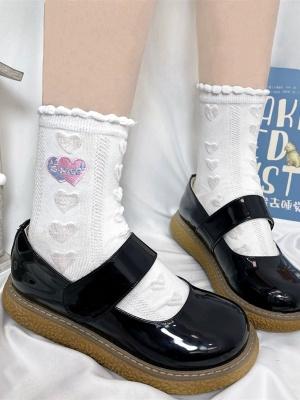 White Heart-shaped JK Lolita Socks