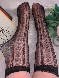 Plus Size JK White / Black Heart-shaped Lolita Mesh Stockings