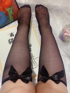 Plus Size White / Black Bowknot Decorative Lolita Stockings
