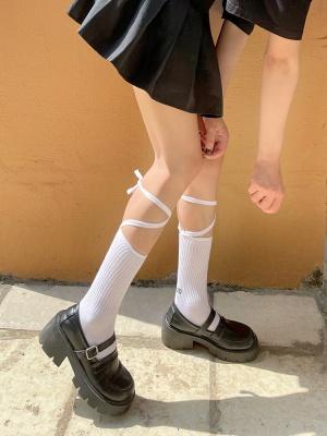 JK White / Black Cross Self-tie Lolita Stockings
