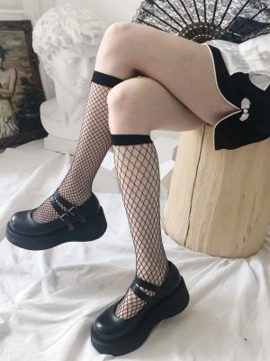 Punk White / Black Lolita Fishnet Stockings