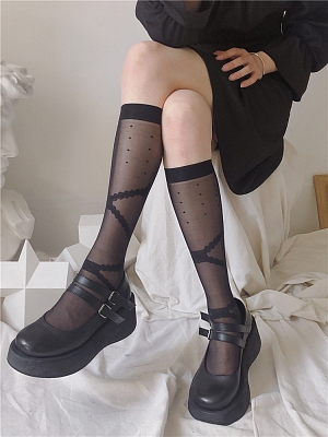JK White / Black Lolita Stockings