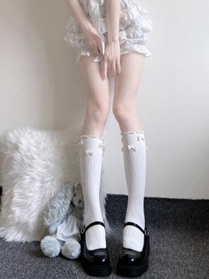 JK White / Black Bowknot Decorative Lolita Stockings