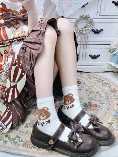 Cute Bunny Milk White / Black Lolita Socks