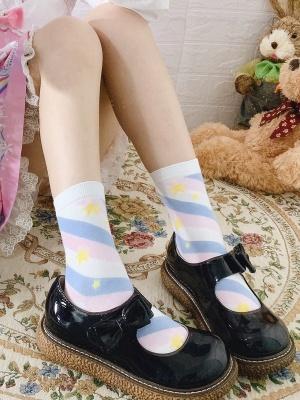 Starry Sky Striped Lolita Socks