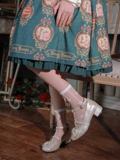 White / Black Glass Filament Lolita Socks