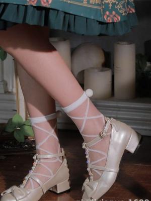 White / Black Plush Ball Glass Filament Lolita Socks