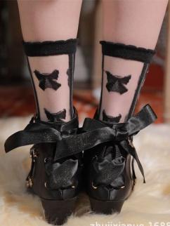 White / Black Bowknot Glass Filament Lolita Socks