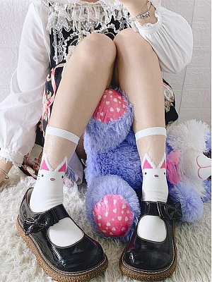 Cute Cat Glass Filament Lolita Socks