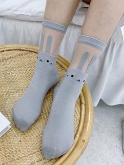 Cute Bunny Glass Filament Lolita Socks