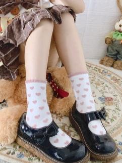 4 Colors Heart-shaped Cotton Lolita Stockings
