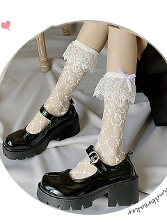 White Lace Trimmed Bowknot Decorative Lolita Stockings