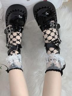 Black Lace Trimmed Bowknot Decorative Lolita Stockings