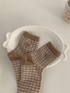 Plaid Bear JK Lolita Stockings