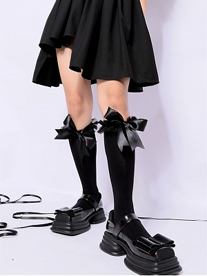 Removable Bowknot Cotton Lolita Stockings