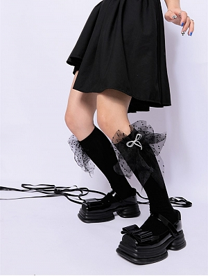 Black Big Bowknot Decorative Lolita Stockings