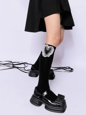 Heart-shaped Ruffled Cotton Lolita Stockings
