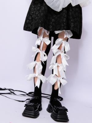 Black and White Bowknot Self-tie Lolita Stockings
