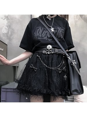Gothic Elastic Waist Black Lace Tiered Skirt by Alita 26SS
