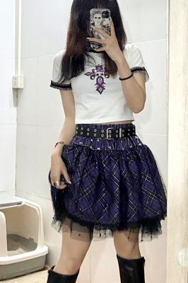 Gothic Punk Elastic Waist Spider Web Skirt by Alita 26SS