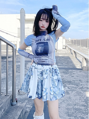 Y2K Subculture Elastic Waist Print Skirt by Alita 26SS