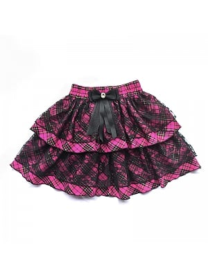 Y2K Elastic Waist Bowknot Decorative Lace Plaid Tiered Skirt by Alita 26SS