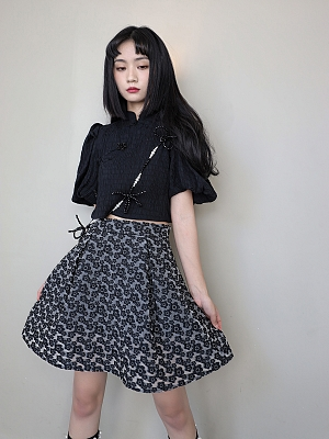Spades Pepper Stand Collar Short Sleeves Top / Short Skirt Full Set by Cheese Day