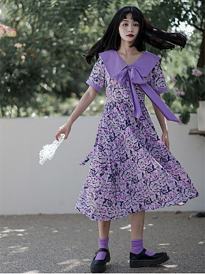 Iris Set Purple Navy Collar Short Sleeves Floral Print Dress by Cheese Day