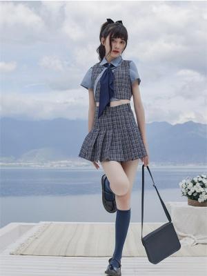 Reasoning Intern Turndown Collar Short Sleeves Shirt / Tie / Plaid Vest / Pleated Skirt Full Set by Cheese Day