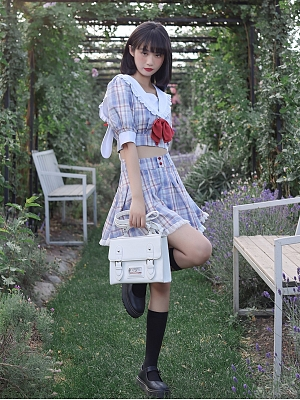 Sweet Bunny JK Navy Collar Short Puff Sleeves Plaid Cropped Top / Skirt Set by Cheese Day