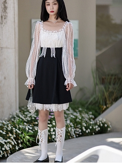 Glass Jellyfish Square Neckline Long Sleeves Bowknot Decorative Dress by Cheese Day