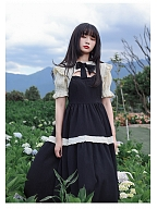 Moonlit Night of Spades Peter Pan Collar Short Puff Sleeves Fake Two-pieces Long Dress by Cheese Day